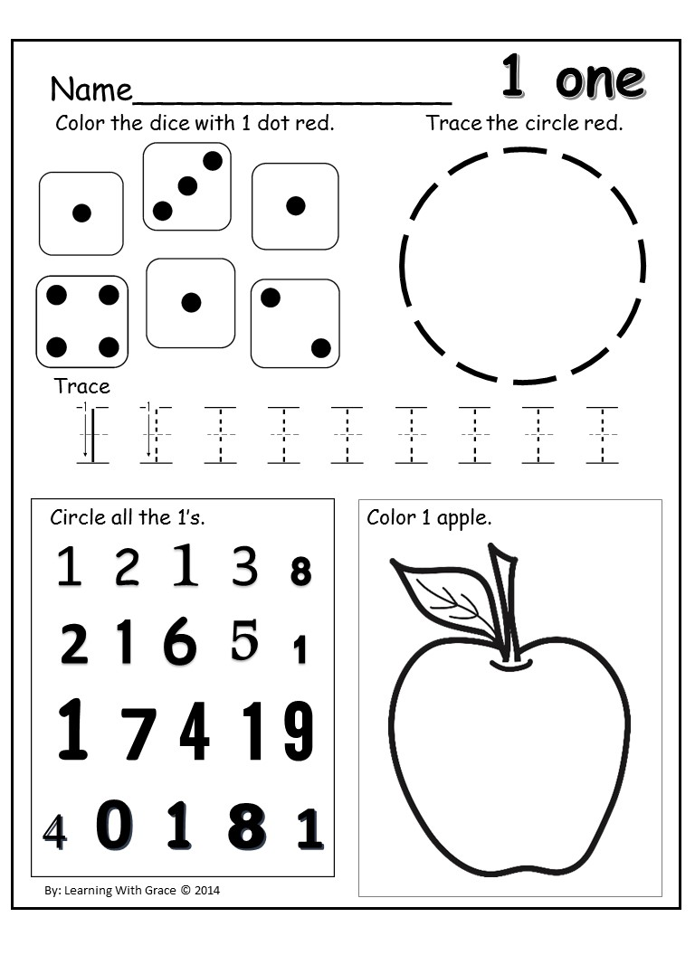 {Learning Numbers 1 12 Worksheets and Flash Cards – Number 1 Worksheet