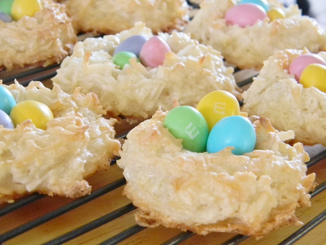Mary made these cute little coconut macaroon nests with chocolate covered almonds for the eggs.